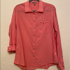 Horny Toad Organic Cotton Button Down Blouse Med